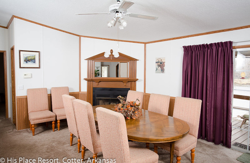 Dining Room in Cabin at His Place Resort