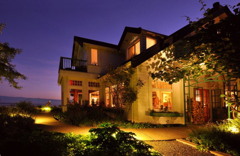 Night view of Sooke Harbour House.