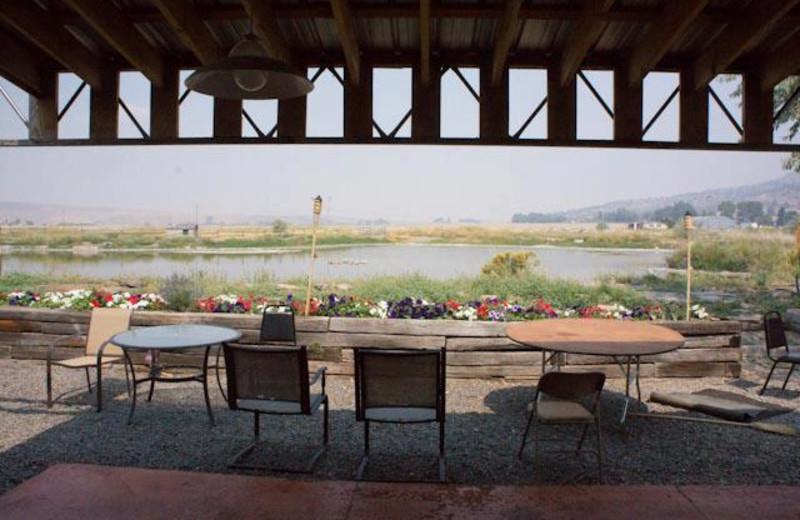 Patio view at Hunter's Hot Springs Resort.