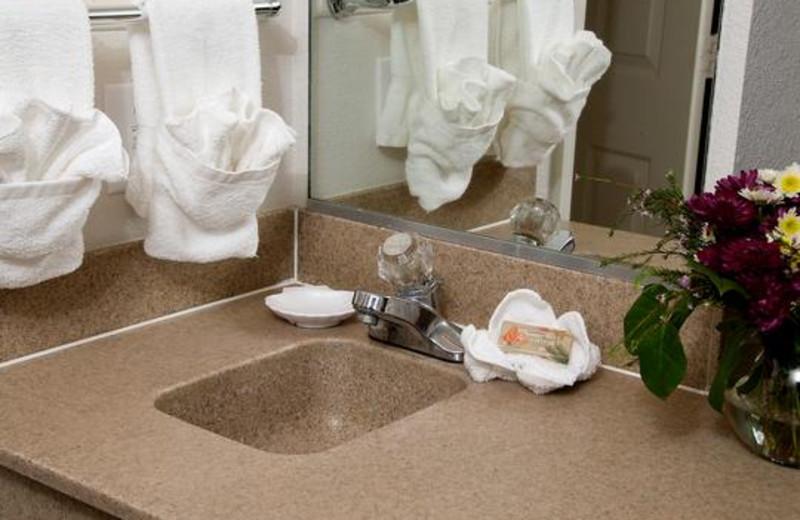 Guest bathroom at Ocean Isle Inn.