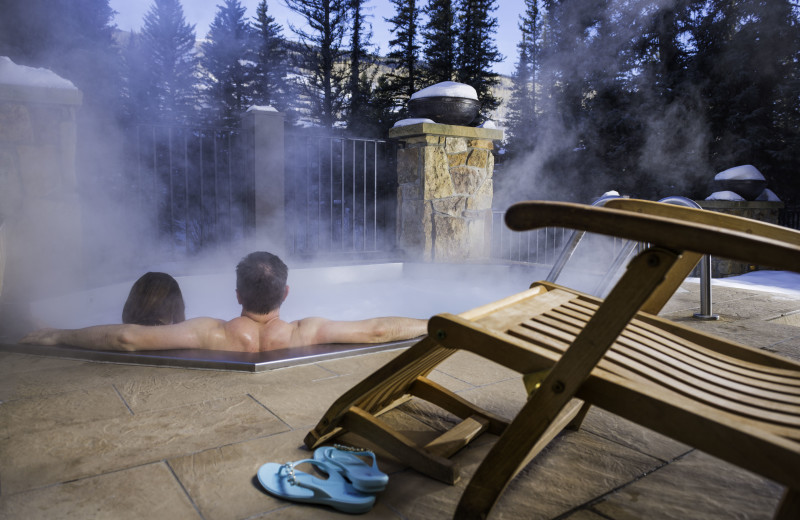 Couple in hot tub at Vail Mountain Lodge