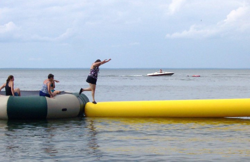 Water trampoline at Anderson's Northland Lodge.
