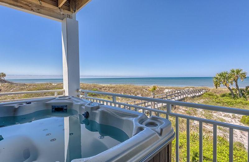 Rental hot tub at No Worries Vacation Rentals.