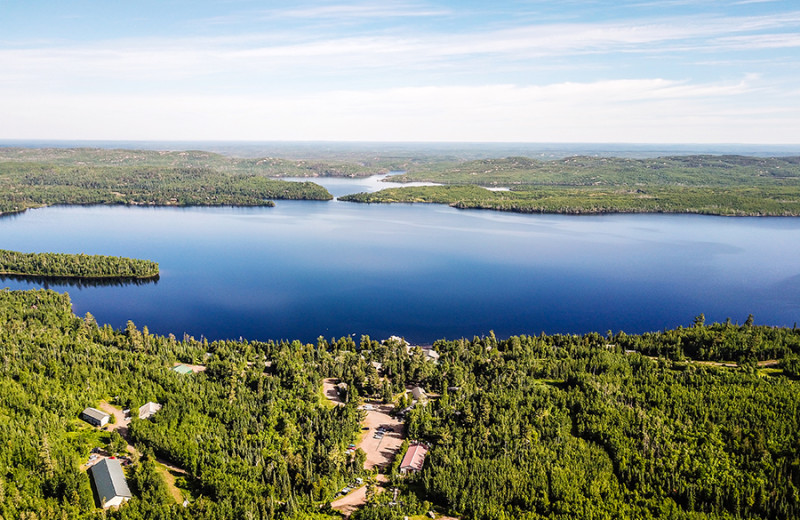 Aerial view of Gunflint Lodge.