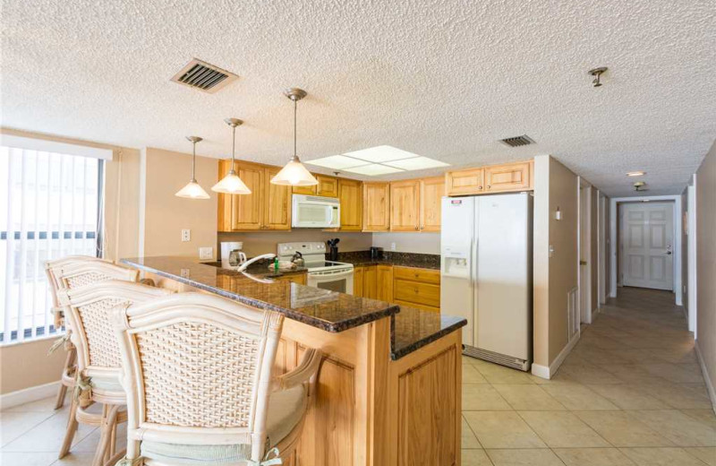 Rental kitchen at Beach Place Condominiums.