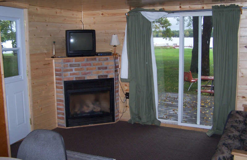 Cabin living room at Carder's Clam Lake Resort.