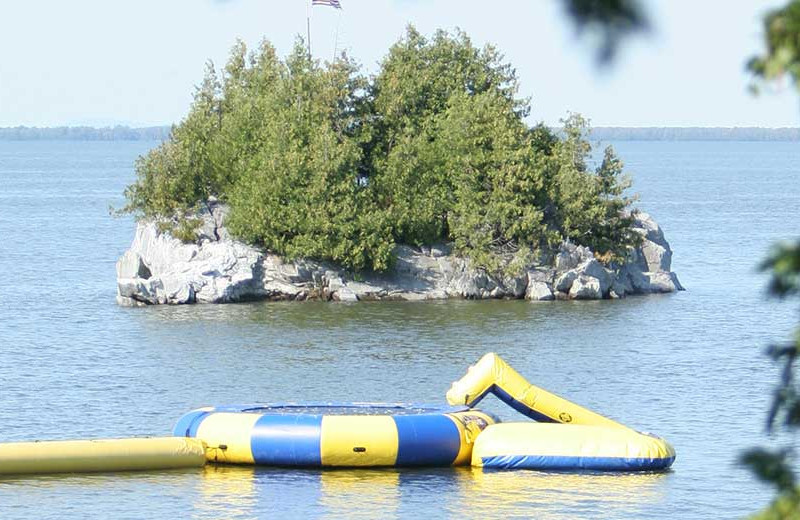 Water trampoline at Tyler Place Family Resort.
