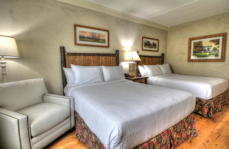 Guest room at The Lodge at Five Oaks.