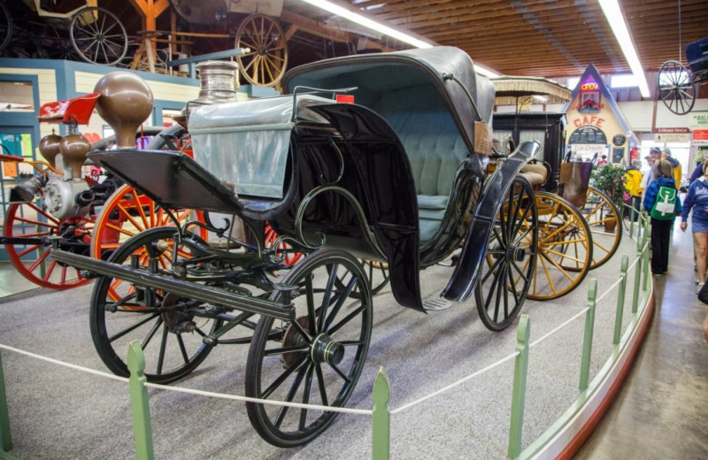 Carriages in a museum at Harbour View Inn.