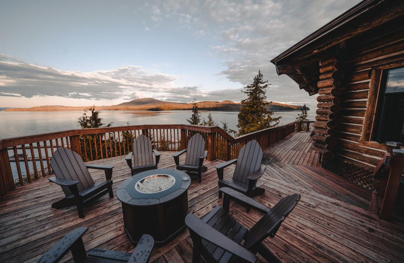 Sit back and enjoy the view from the deck at Salmon Falls Resort.