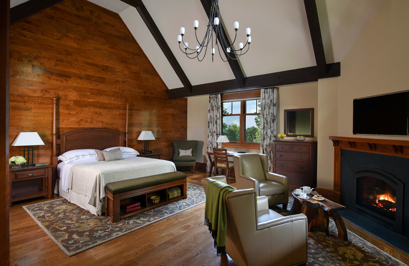 Guest bedroom at Mohonk Mountain House.