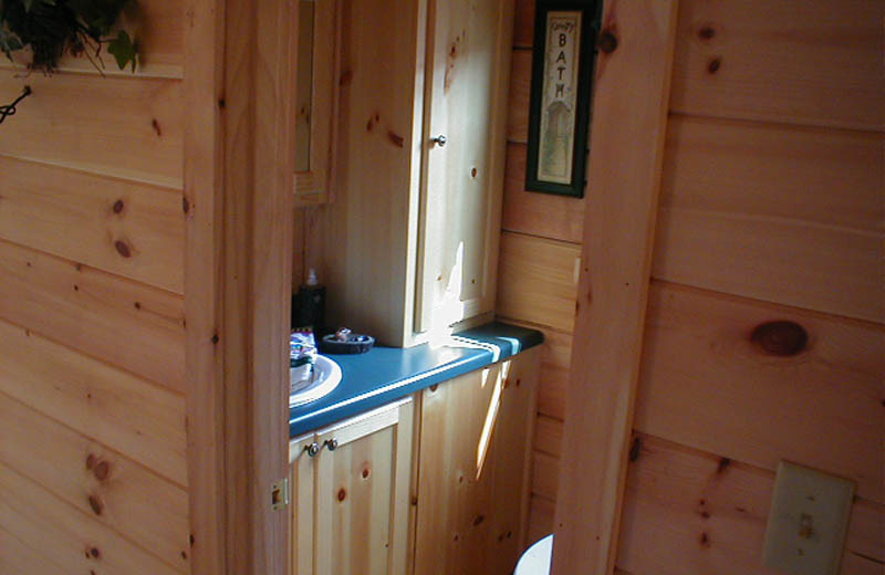 Cabin bathroom at Big Bear Log Cabins.