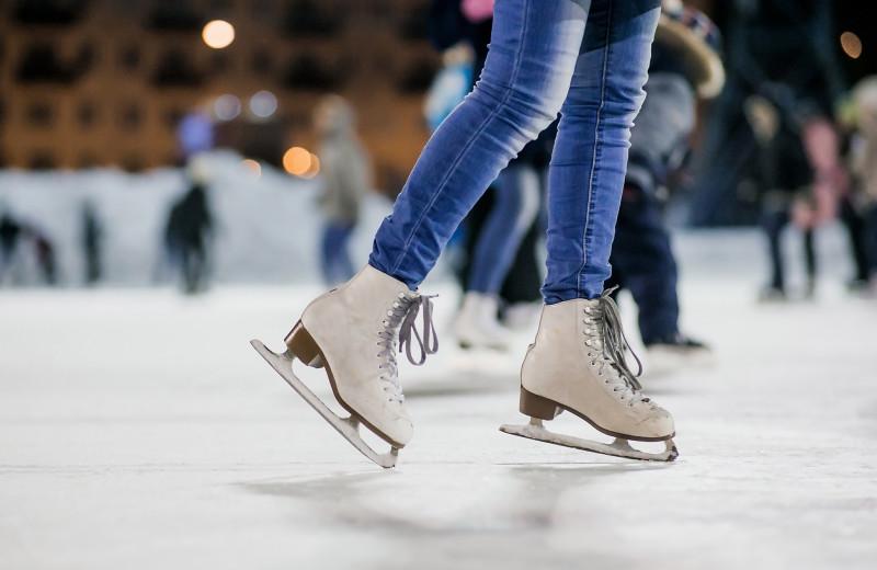 Ice skating near Black Bear Lodge.