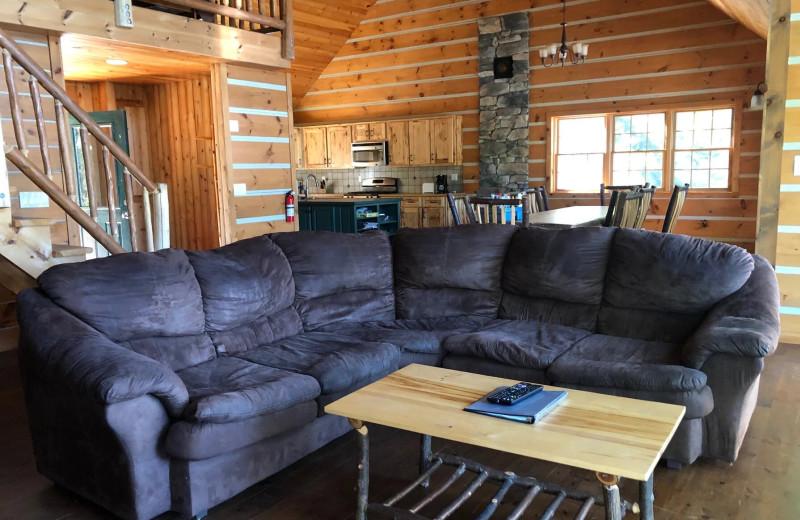 Cabin living room at Riverbay Adventure Inn.