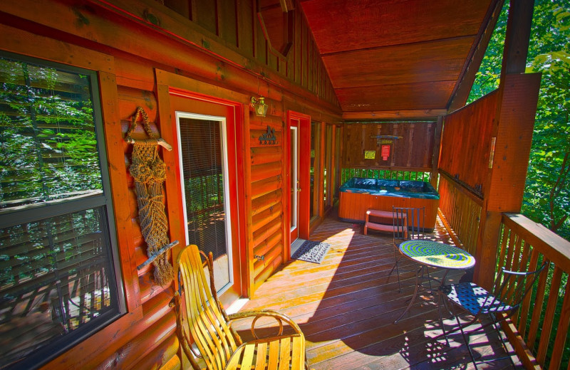 Cabin balcony at Aunt Bug's Cabin Rentals, LLC.