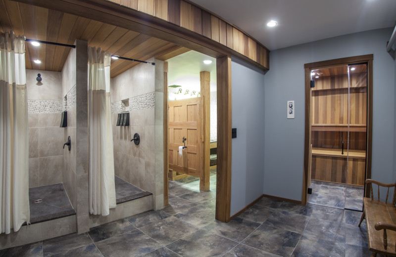 Enjoy a sauna in the fitness center changing rooms