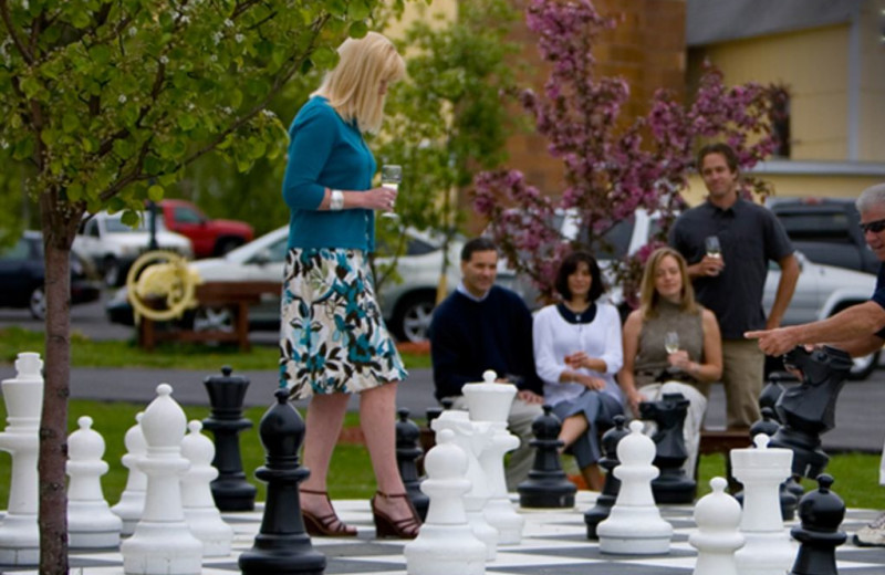 Giant chess at La Tourelle Resort & Spa.