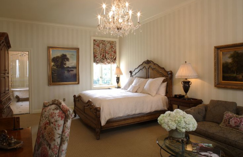 Guest room at Oheka Castle Hotel and Estate.