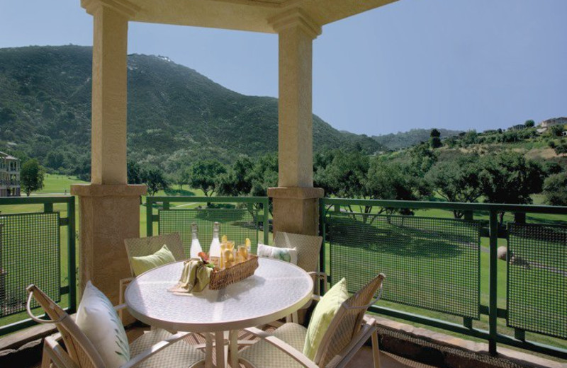Patio view at Lawrence Welk Resort Villas.