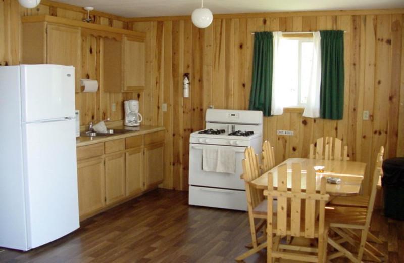 Cabin kitchen at Pipestone Point Resort.