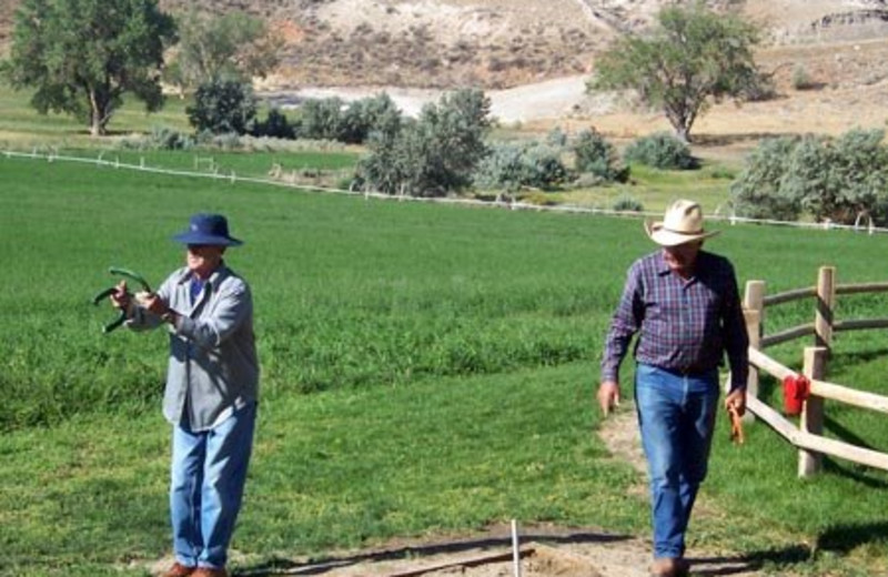 Playing horseshoes at K3 Guest Ranch.