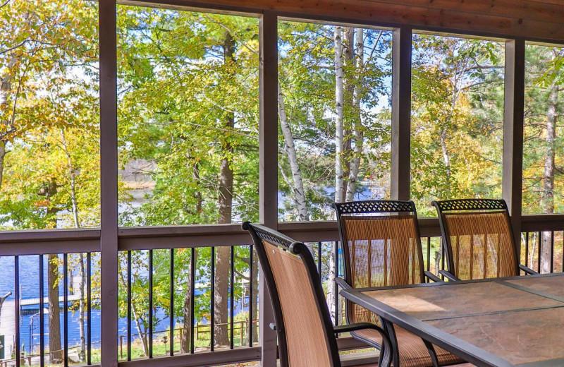 Cabin deck at Lost Lake Lodge.