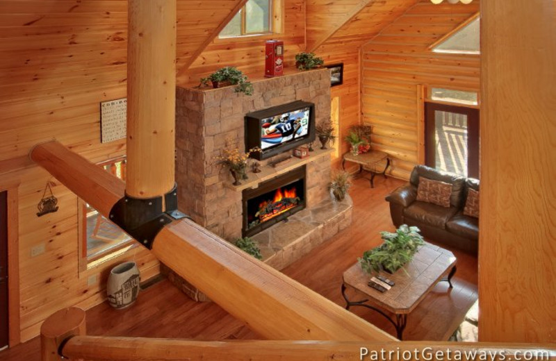 Cabin living room at American Patriot Getaways, LLC.