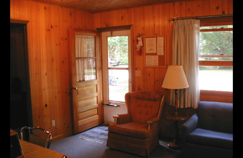 Cabin living room at North Breeze Resort.