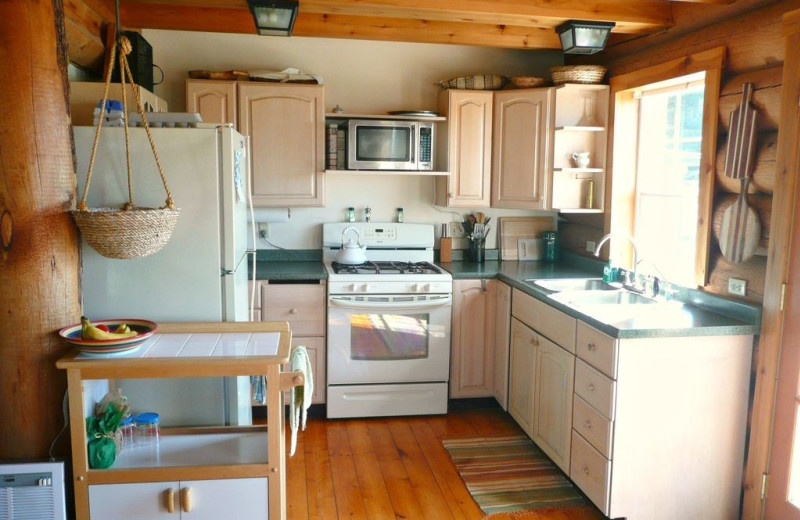 Cabin kitchen at Olympic View Cabins.