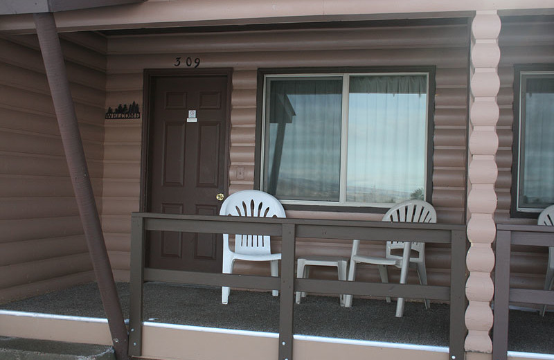 Guest porch at Flaming Gorge Lodge.