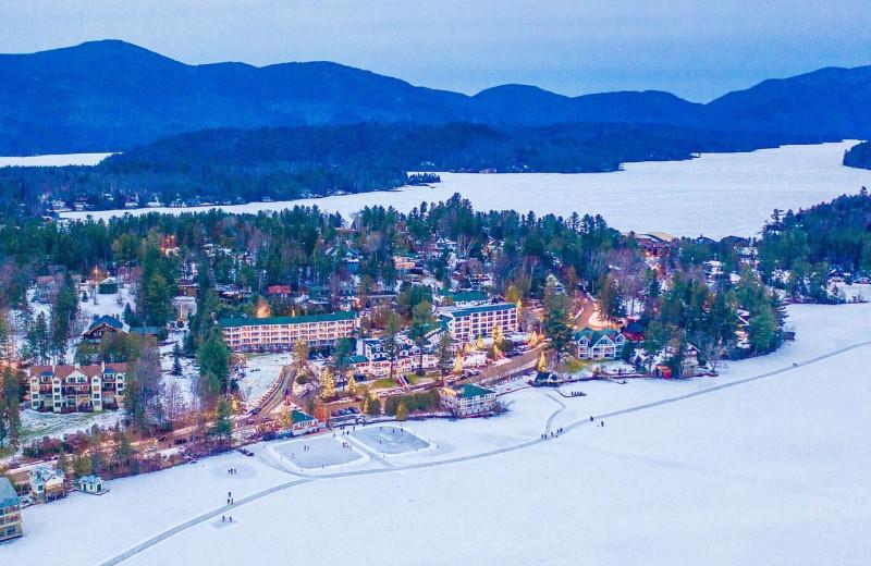Winter aerial view at Mirror Lake Inn Resort & Spa.