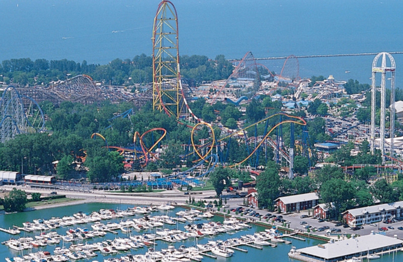 Aerial view of Cedar Point Resort.