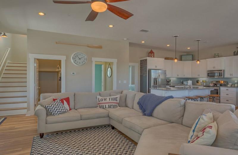 Rental living room kitchen at No Worries Vacation Rentals.