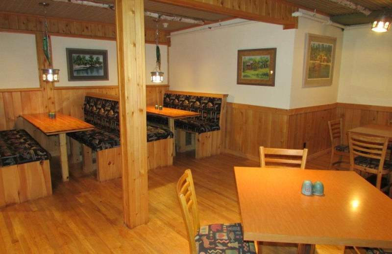 Booths at restaurant at Elbow Lake Lodge.