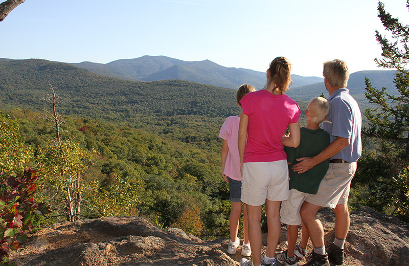 Family hiking at Golden Eagle Lodge.