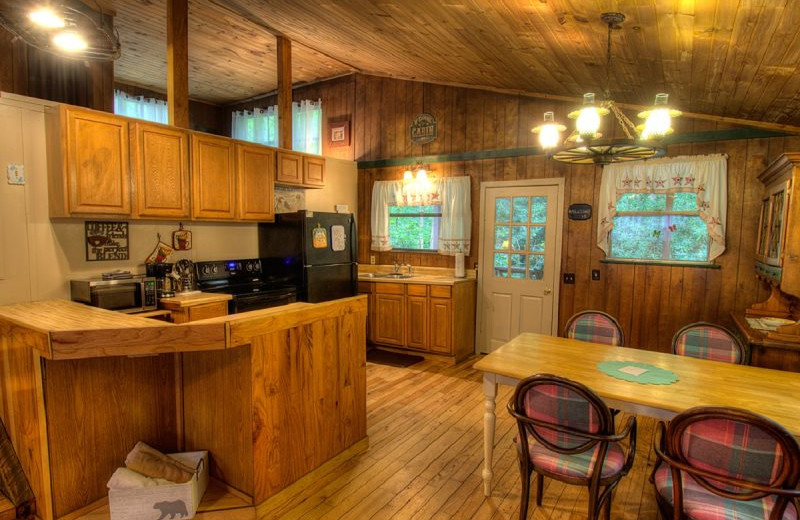 Rental kitchen at Hidden Creek Cabins.
