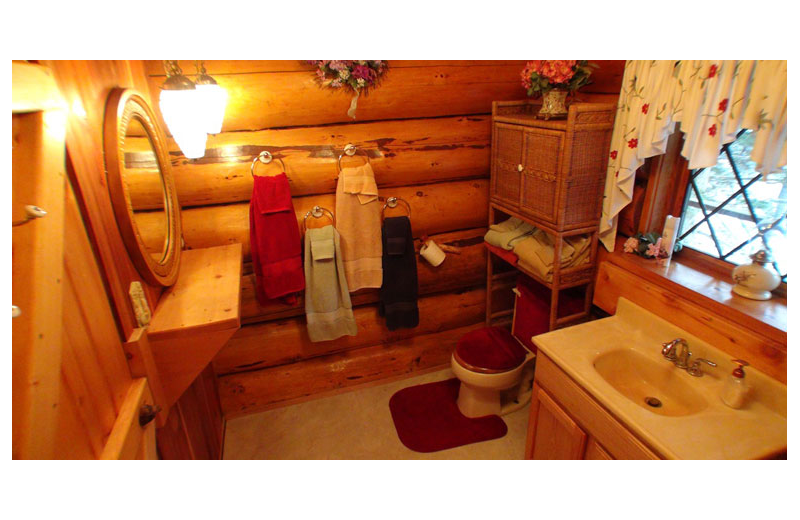 Cabin bathroom at Afognak Wilderness Lodge.