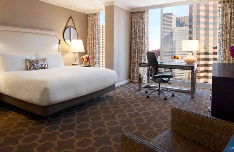 Guest room at The Fairmont Dallas.