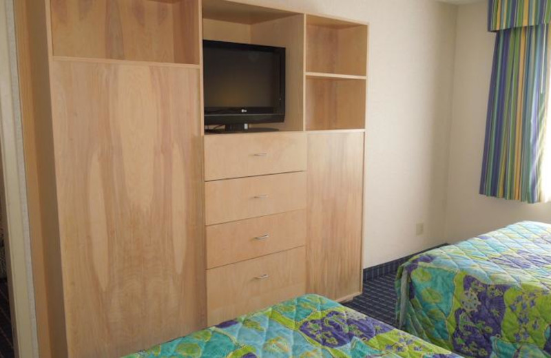 Guest room at Sandcastle Suites.