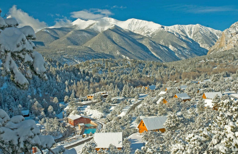 Aerial view of Mt. Princeton Hot Springs Resort.
