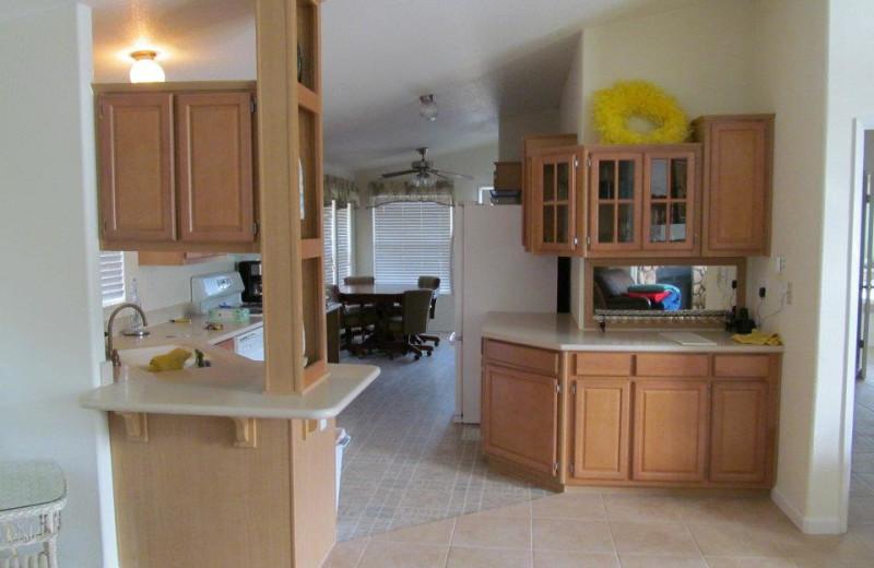 Cabin kitchen at Pleasure Cove.