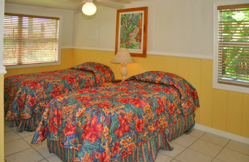 Cottage bedroom at River Palm Cottages.