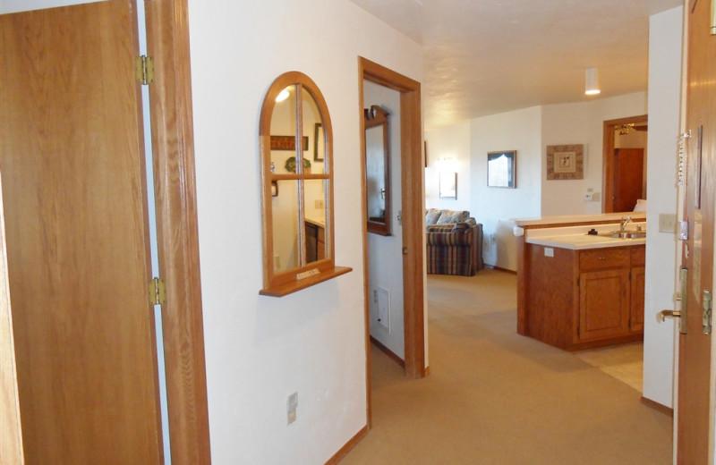Guest room hallway at Pheasant Park Resort.