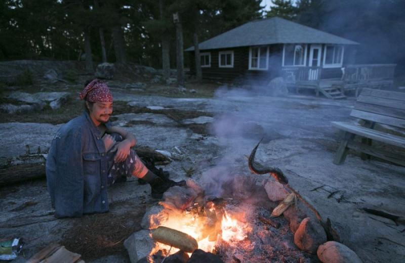 Bonfire at Voyageur Park Lodge.