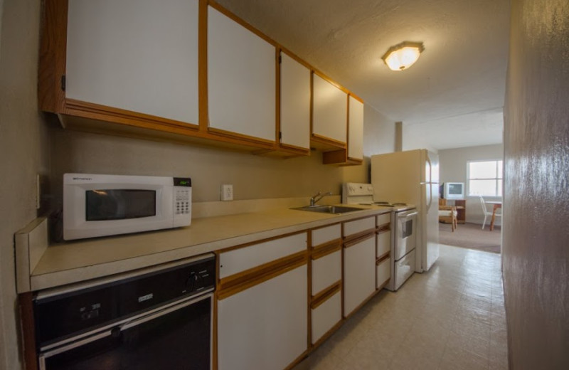 Guest kitchen at Aquarius Motor Inn.