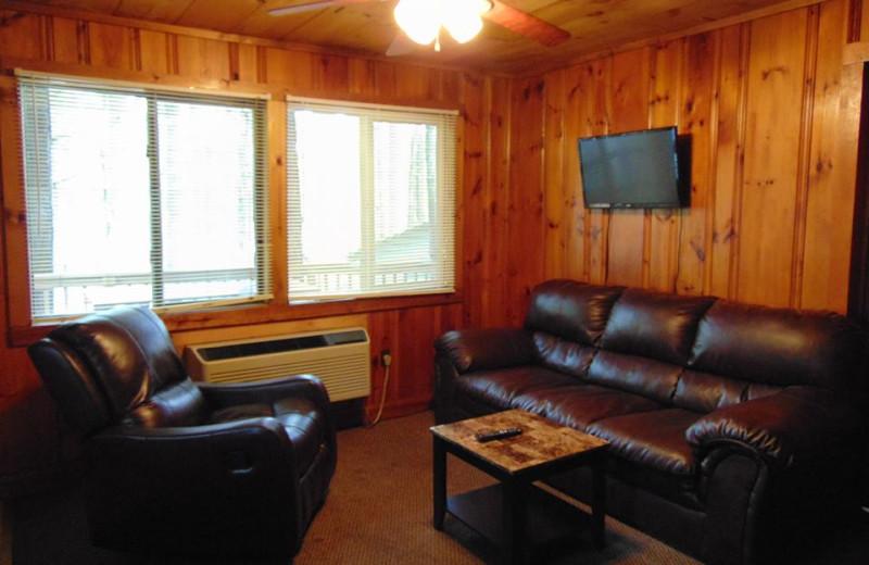 Cabin living room at The Depe Dene Resort.