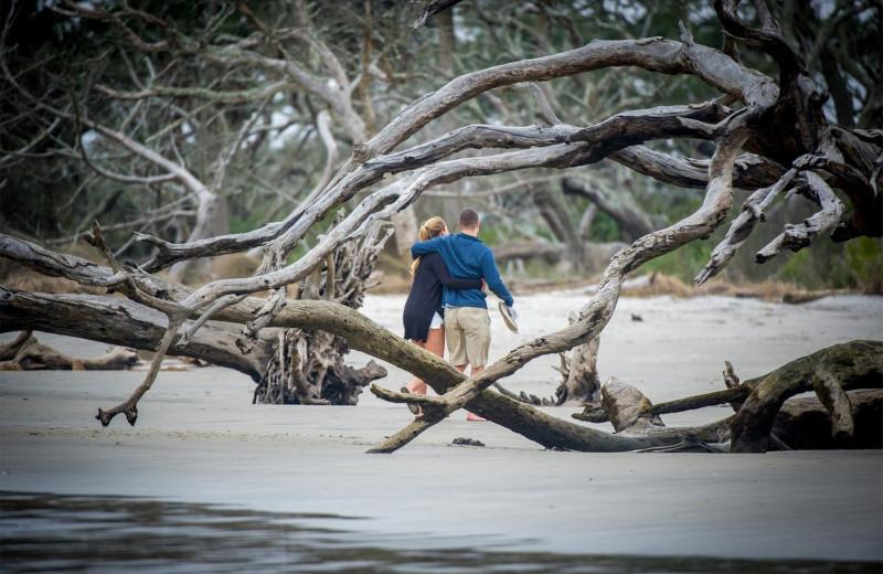 Couple on beach at Westin Jekyll Island.