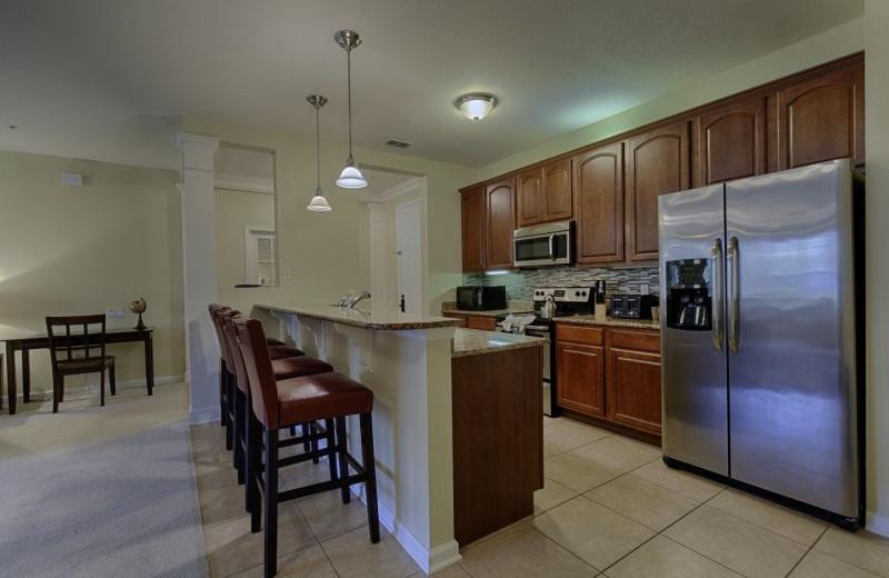 Rental kitchen at Vista Vacation Rentals.