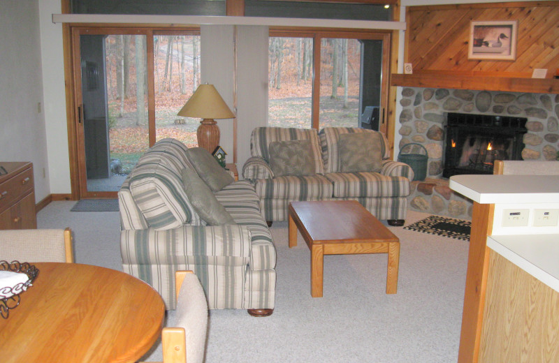 Rental living room at Hamlet Village Resort Condominiums.