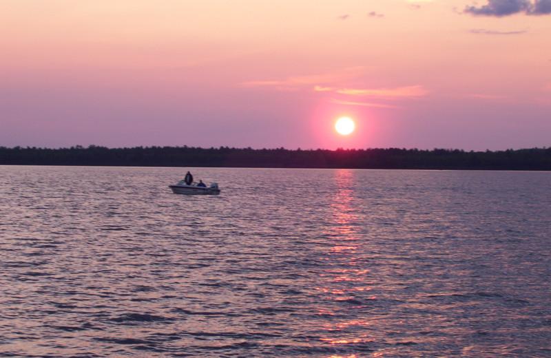 Lake sunset at Wind Drift Resort.